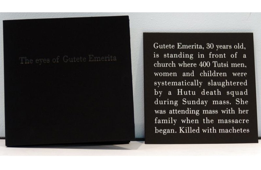 The Eyes of Gutete Emerita,	1996Photographic portfolio with printed text and mirror cards,	8 1/4 x 8 1/4 inches (20.96 x 20.96 cm)Gift of Francine and Leslie Rozencwaig
