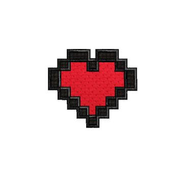 Video Game 8 Bit Heart Filled With Fabric