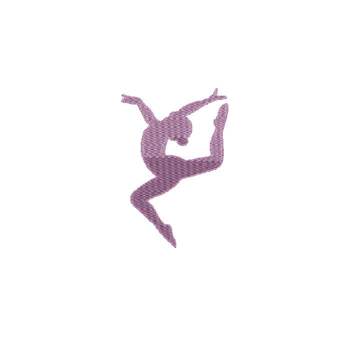 Gymnast Silhouette Filled Machine Embroidery Design