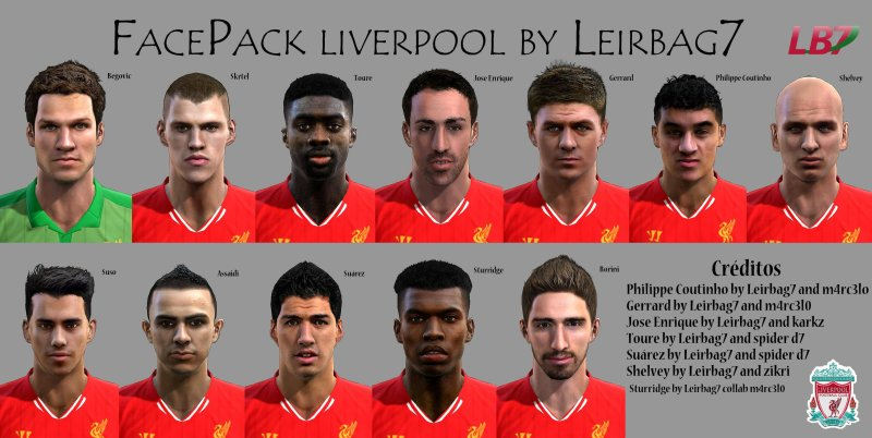 pes 2013 liverpool face pack