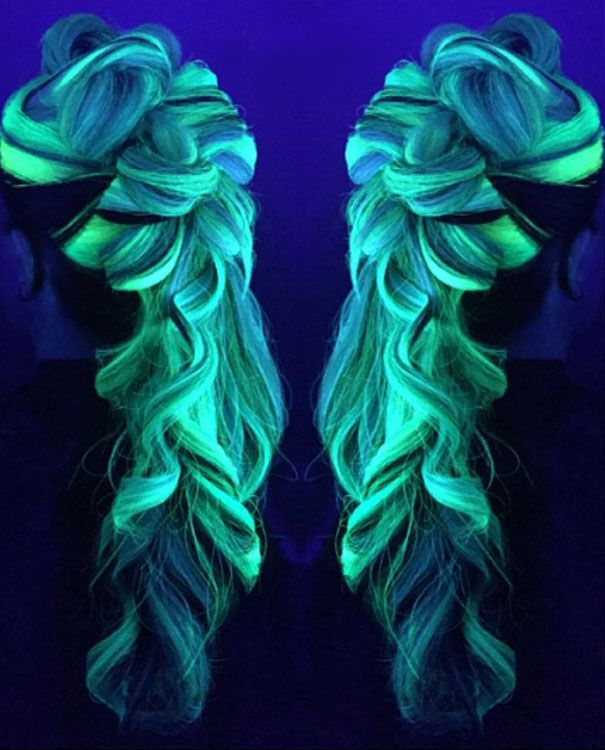 dark hair, glow in the dark hair