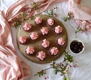 Choc, cherry and vanilla cupcakes