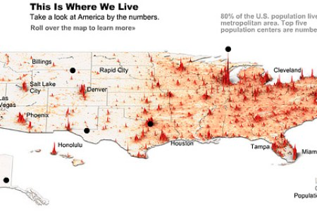 Map Of Usa Population - Us population centers map