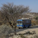 A passenger bus drives on the main highway near the town of Akordat west from Eritrea's capital Asmara