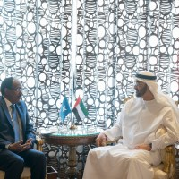 ABU DHABI, UNITED ARAB EMIRATES - November 20, 2017: HH Sheikh Mohamed bin Zayed Al Nahyan, Crown Prince of Abu Dhabi and Deputy Supreme Commander of the UAE Armed Forces (R), meets with HE Mohamed Abdullahi Farmajo, President of Somalia (L), at Al Shati Palace.  ( Mohamed Al Hammadi / Crown Prince Court - Abu Dhabi ) ---