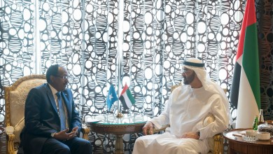 ABU DHABI, UNITED ARAB EMIRATES - November 20, 2017: HH Sheikh Mohamed bin Zayed Al Nahyan, Crown Prince of Abu Dhabi and Deputy Supreme Commander of the UAE Armed Forces (R), meets with HE Mohamed Abdullahi Farmajo, President of Somalia (L), at Al Shati Palace.  ( Mohamed Al Hammadi / Crown Prince Court - Abu Dhabi ) ---