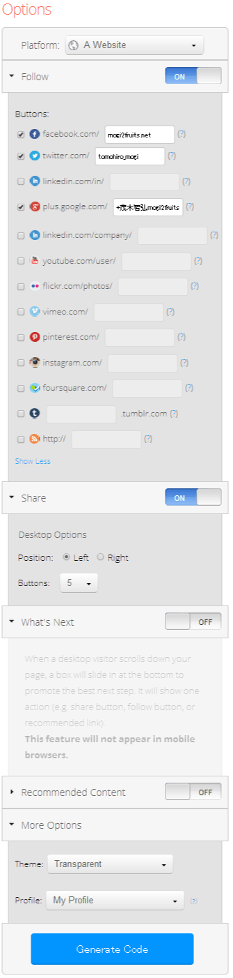 AddThis Smart Layers - Get the Code - Options