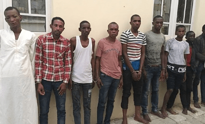 Photos: Police Parade Kidnappers Of CBN Governor's Wife, Huge Money, Other Items Recovered