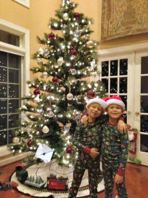 Boys Excited about Santa