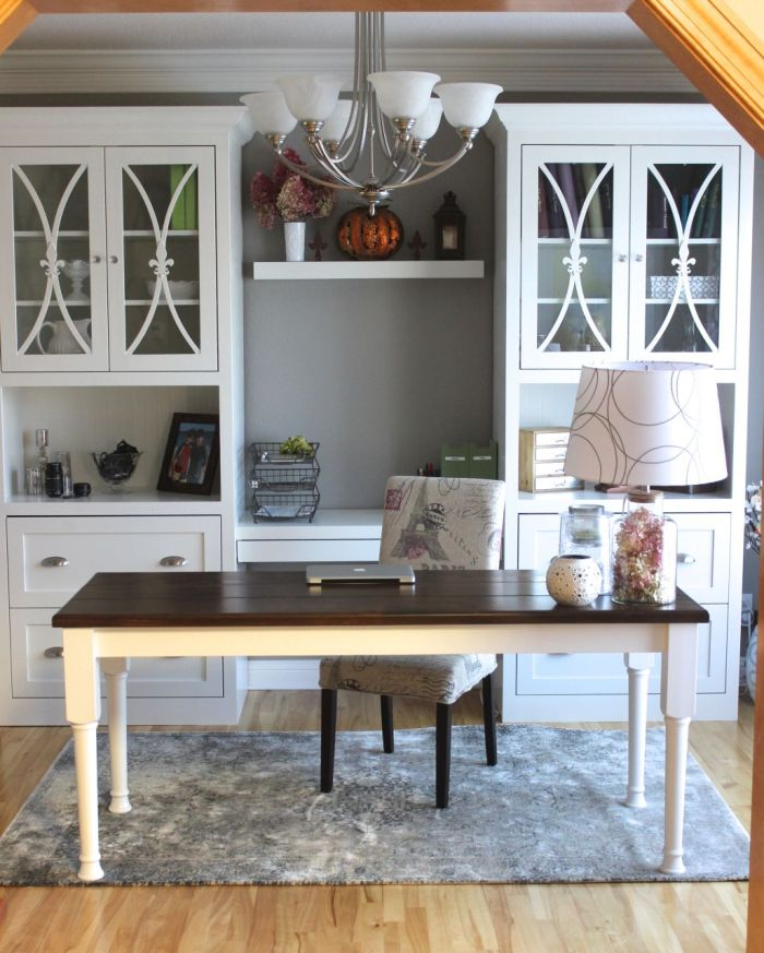 My home office blog room family command center for Dining room office ideas