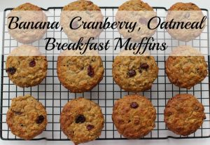Banana, cranberry, oatmeal breakfast muffins