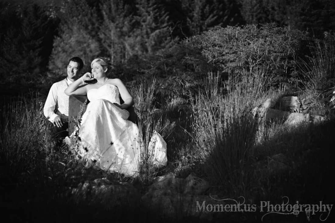 North Wales wedding - bride and groom in field