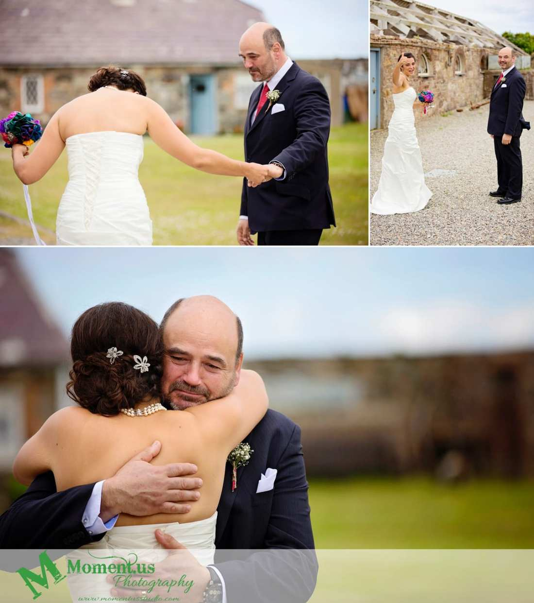 Fort Belan Wedding - bride hugging dad