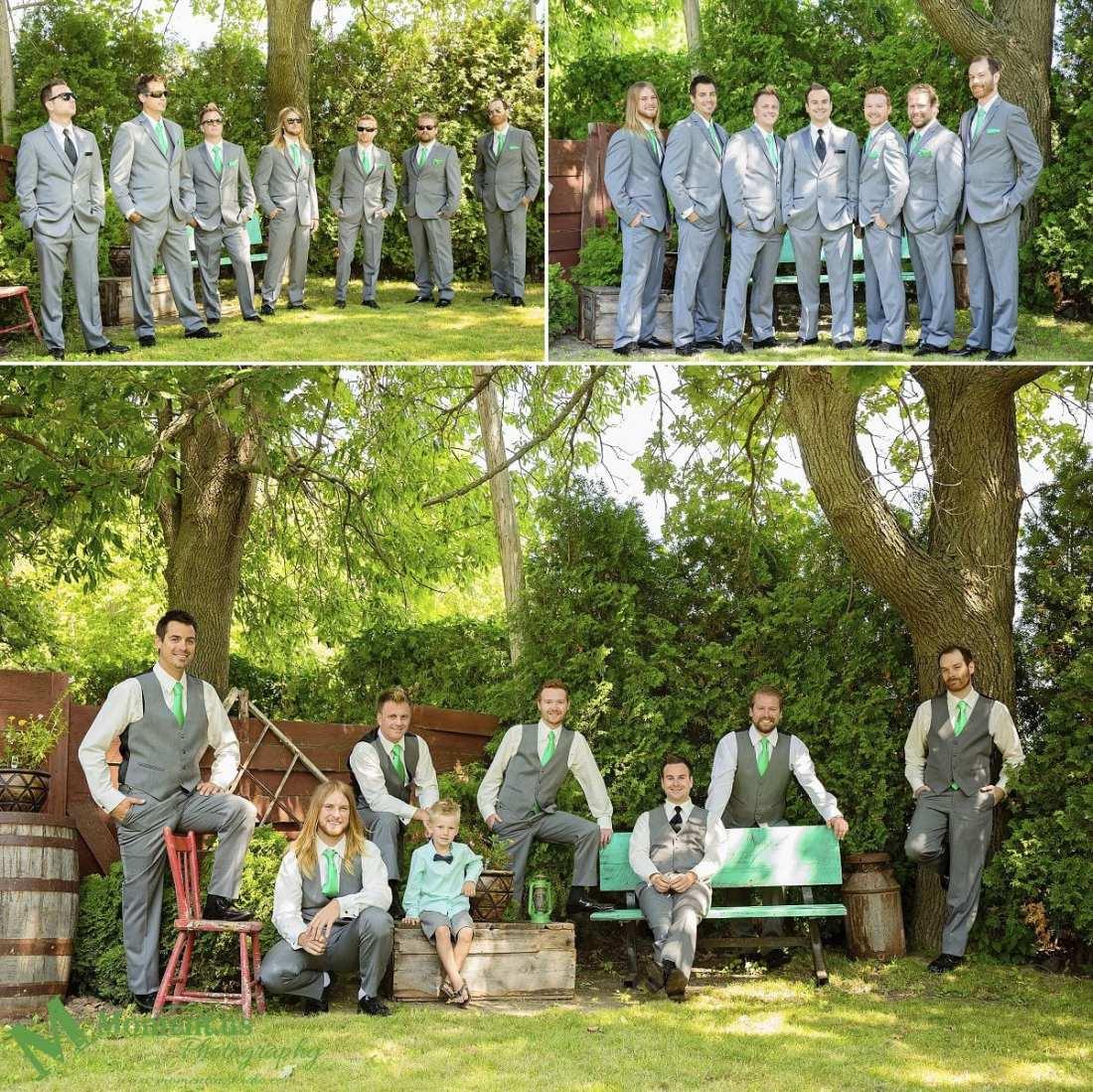 Elegant Cornwall wedding - ushers wearing green ties