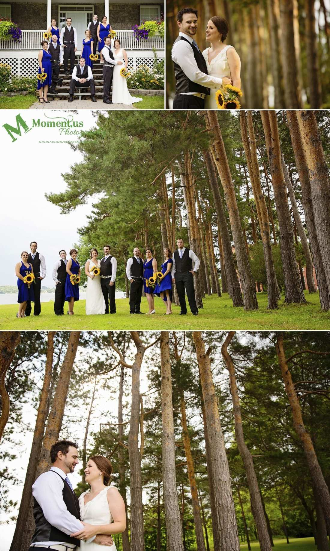 NAV Centre Cornwall weddings - wedding party in blue under pines