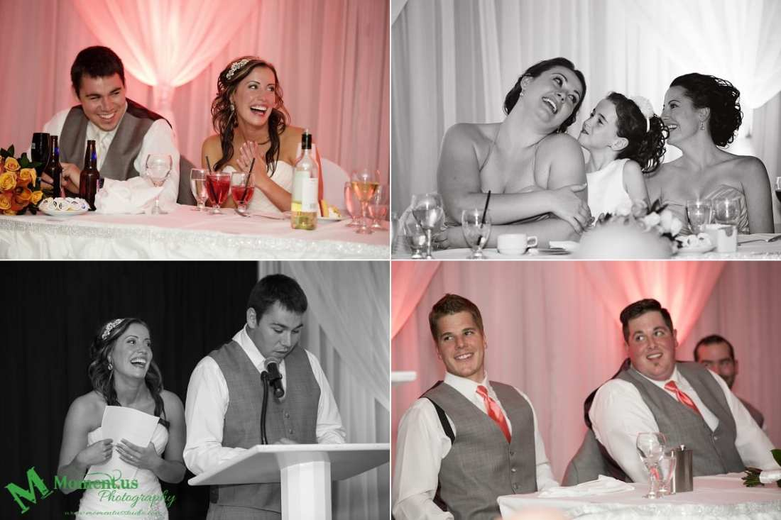 bride and groom making speech during NAVCentre wedding - Cornwall wedding photographer