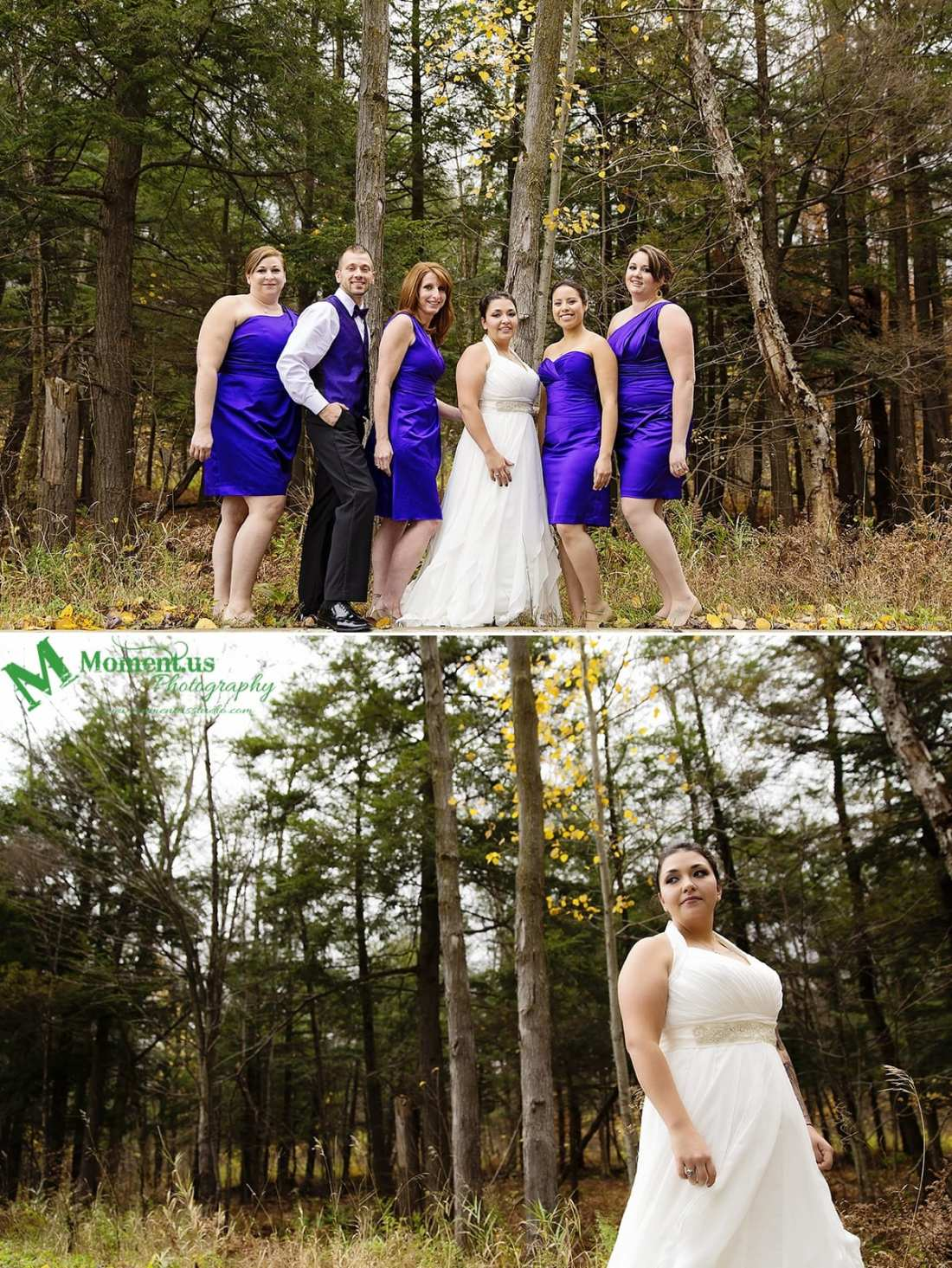 Alexandria wedding - bridal party in purple by trees