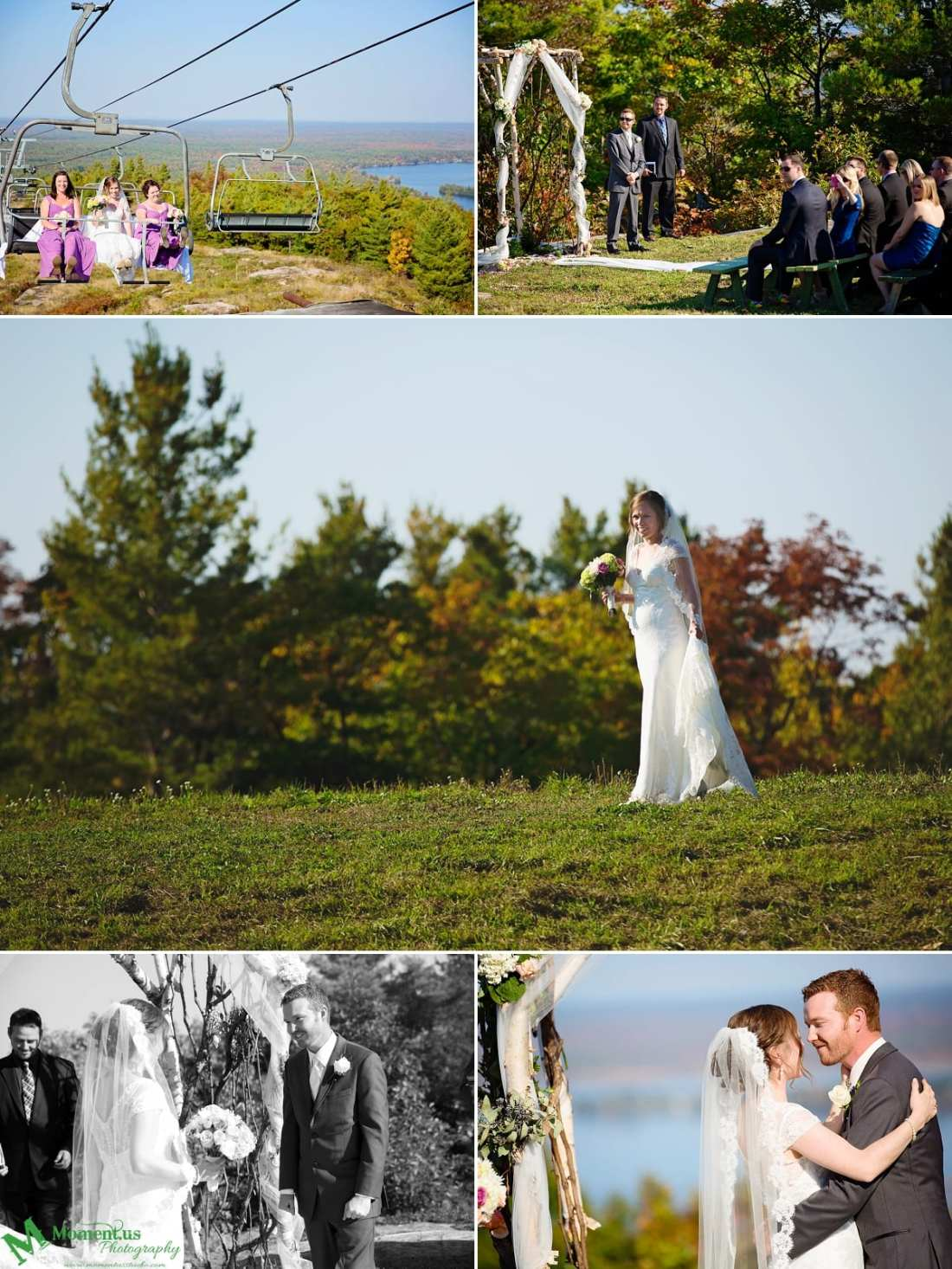 bride on chairlift - Calabogie Peaks Wedding