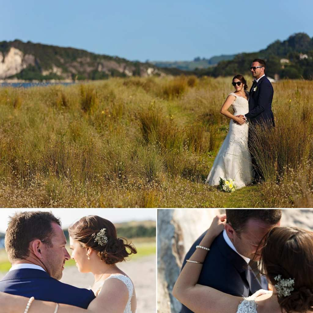 Cornwall international wedding photographer - bride and groom in tall grass