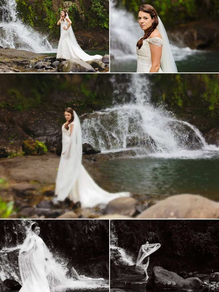 Cornwall international wedding photographer - bride by waterfall