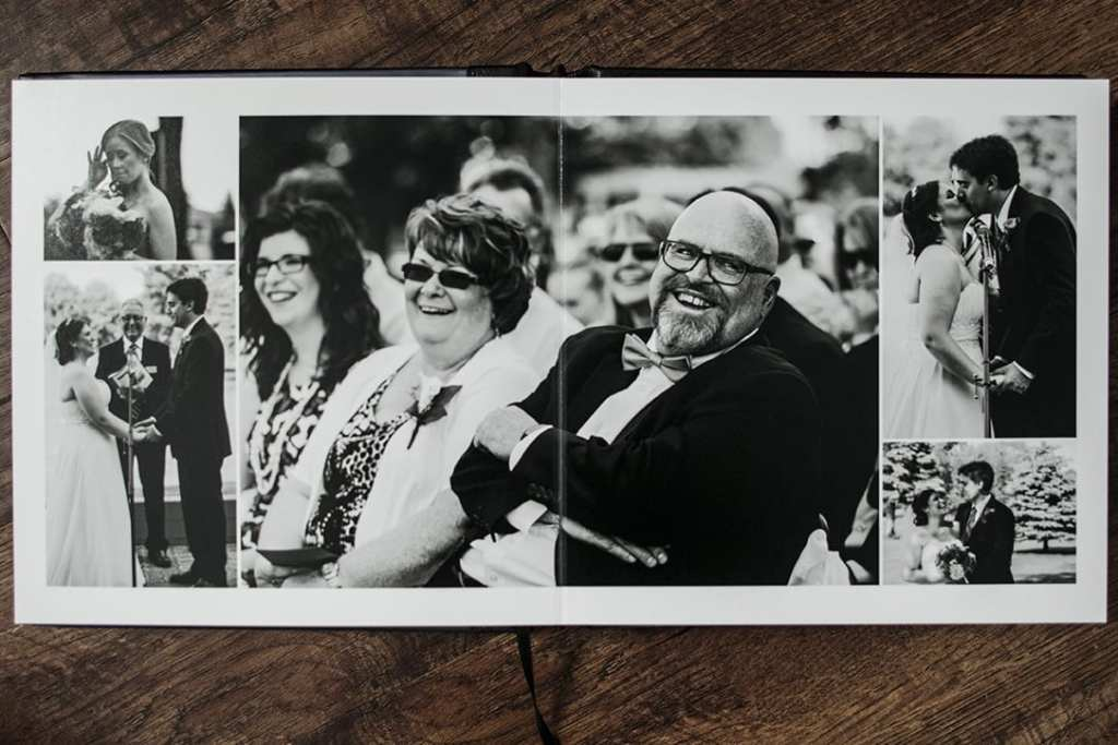 interior of Modern Ontario Wedding Album featuring dad laughing during Cornwall Golf & Country Club wedding ceremony