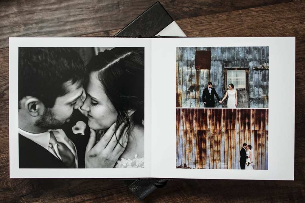 interior of Modern Ontario Wedding Album featuring bride and groom in front of rusted aluminum wall
