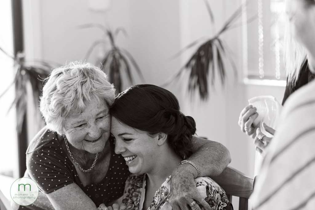 hugging nan during bridal prep