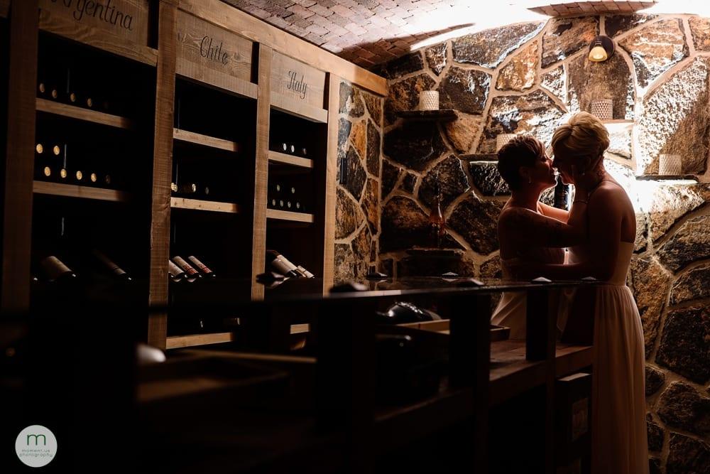 brides silhouette in cellar