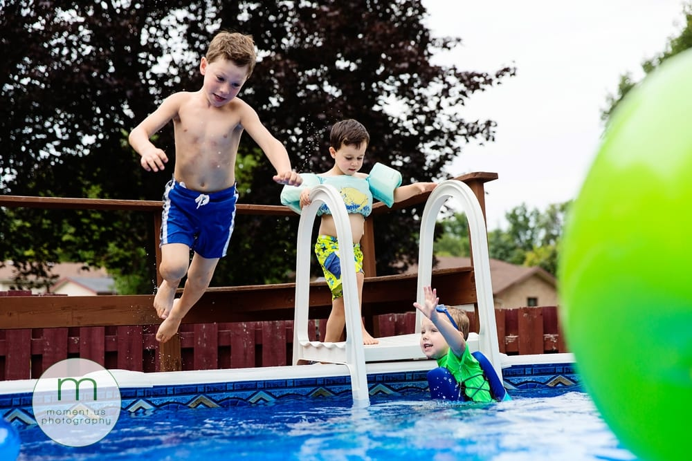 boys by pool