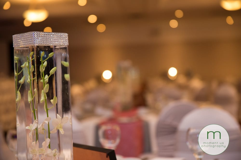 orchids in diamanté vases