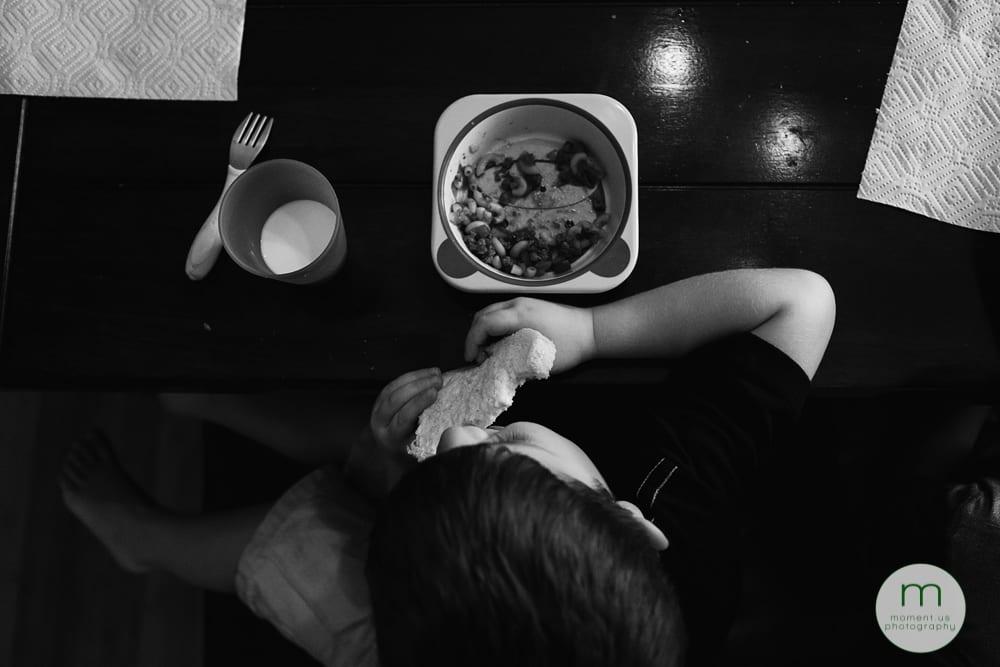 overhead shot of boy's meal