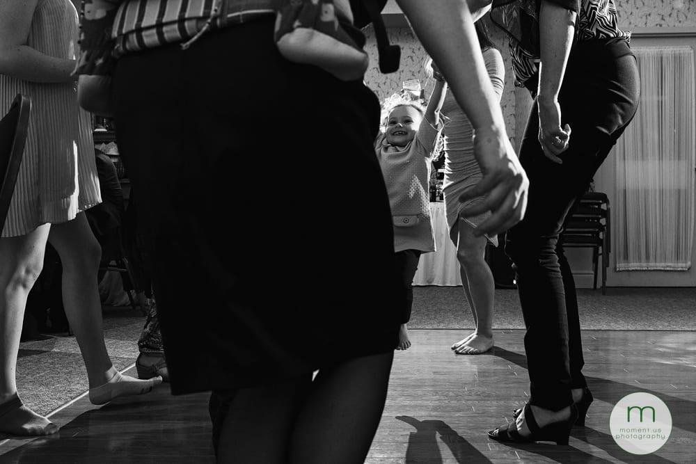 young girl swinging on dancefloor