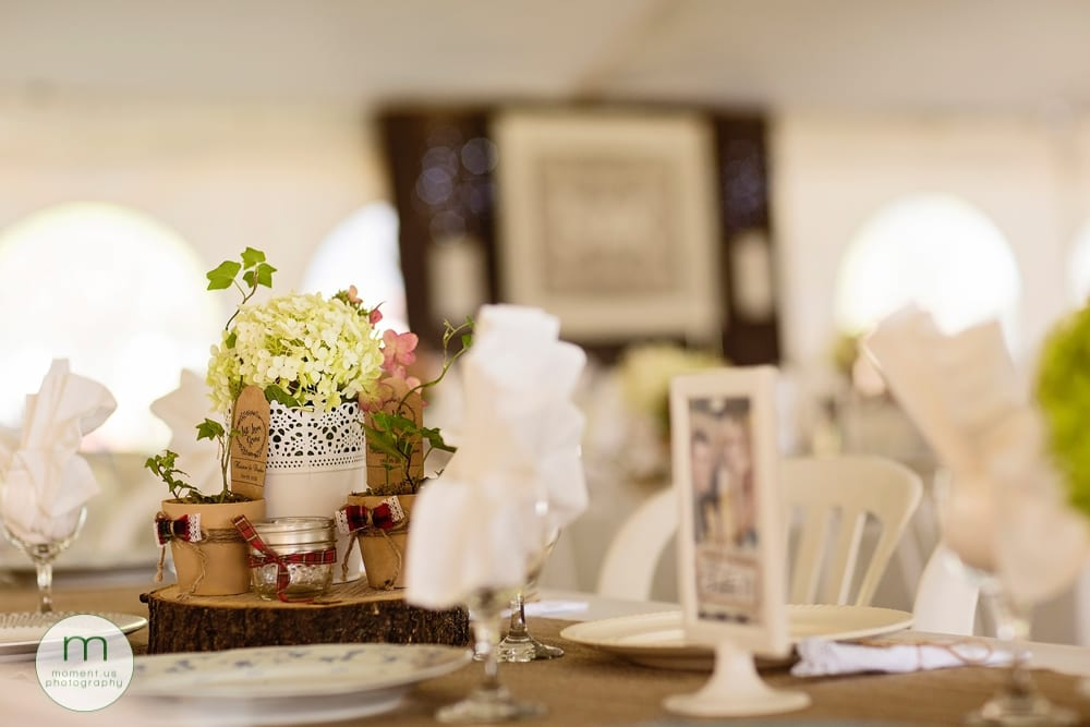 Cornwall rustic country wedding centrepieces