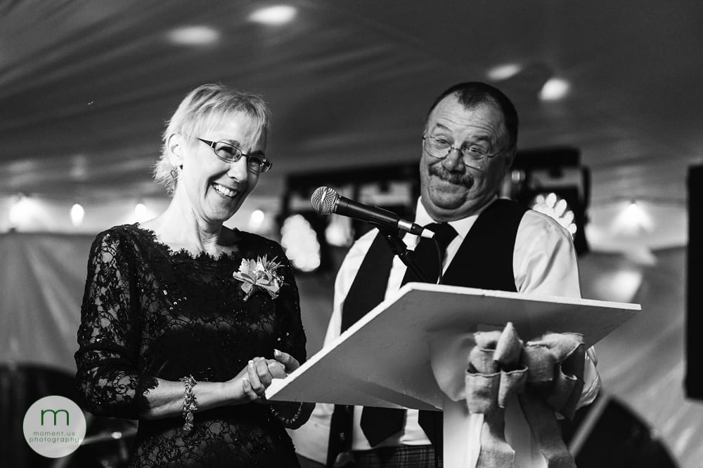 Cornwall Rustic Country Wedding - parents of groom giving speech