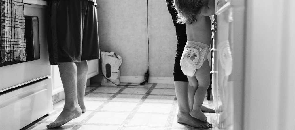 Cornwall girl standing on Mom's feet