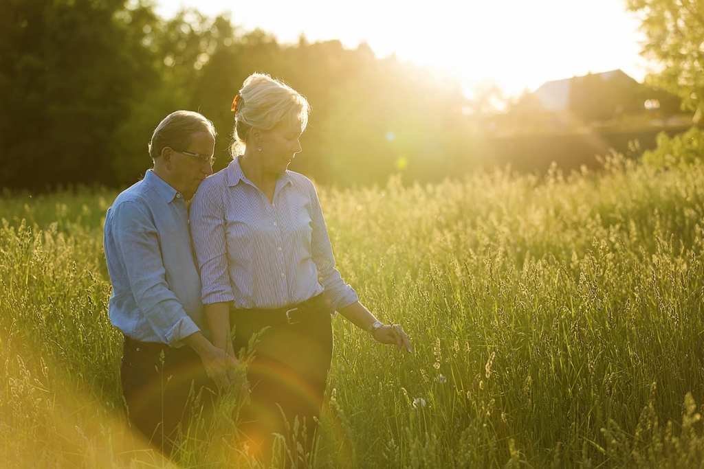 couple in field for Williamstown engagement session