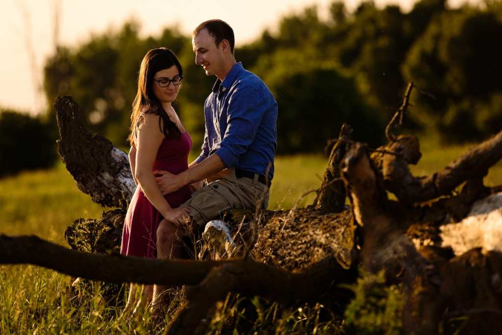 Crysler Ontario engagement session on tree trunk