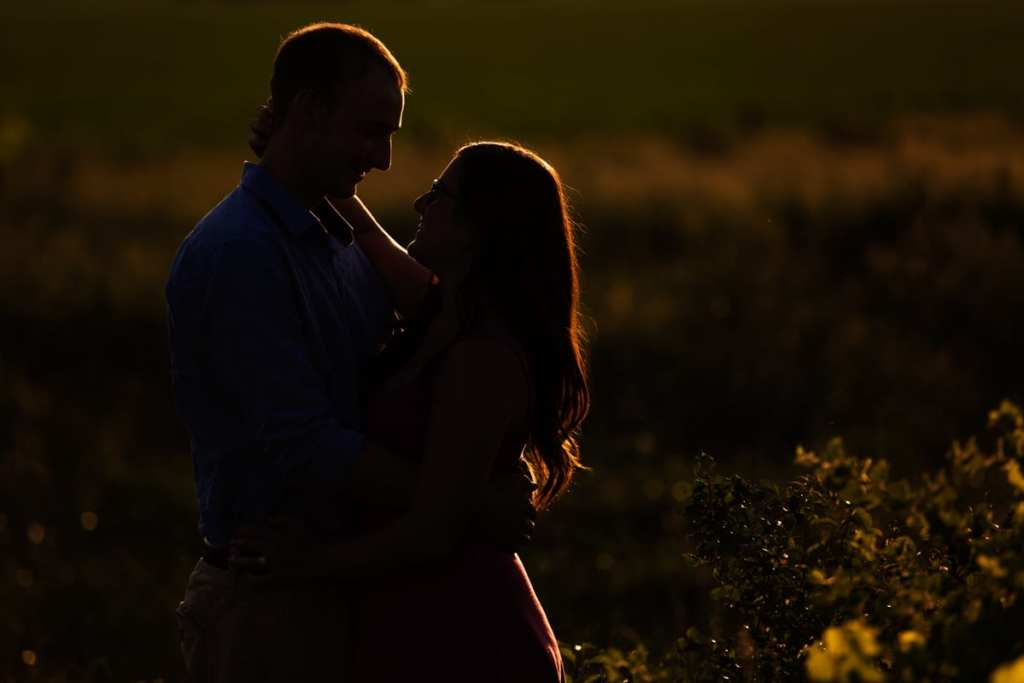 Couple embracing in country field engagement session