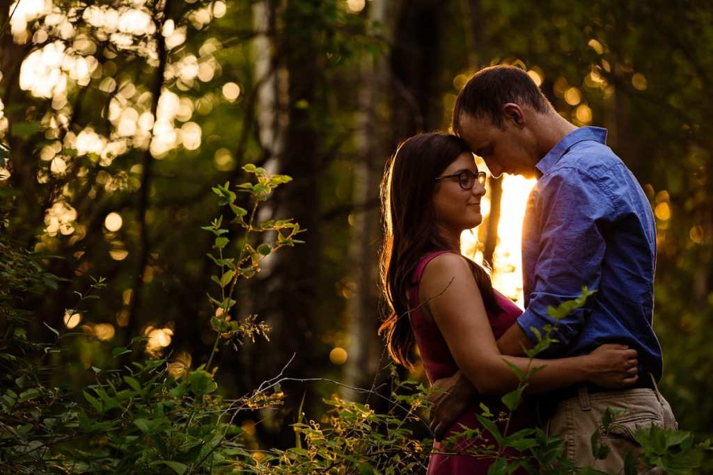 romantic sunset couple engagement session in Crysler Ontario