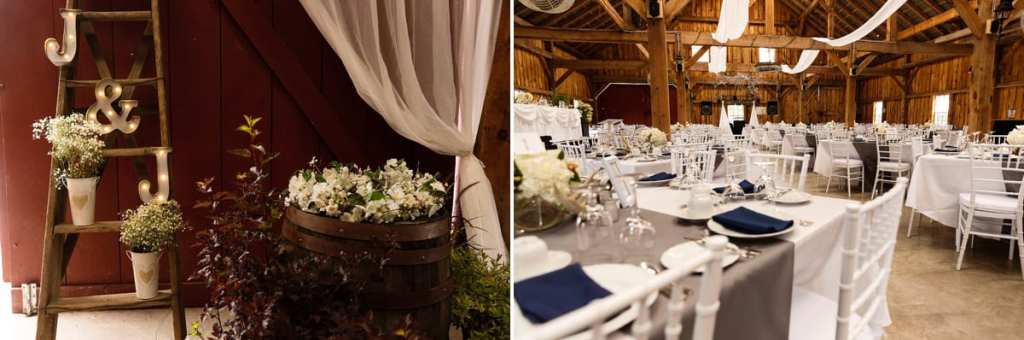 Fairgrounds barn reception venue and rustic decor