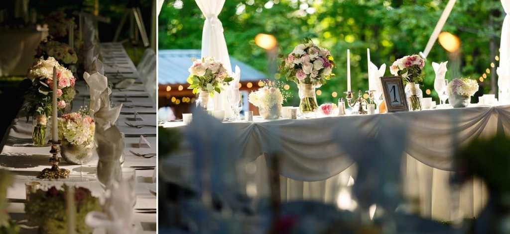 Rural Backyard wedding head table and flower arrangements
