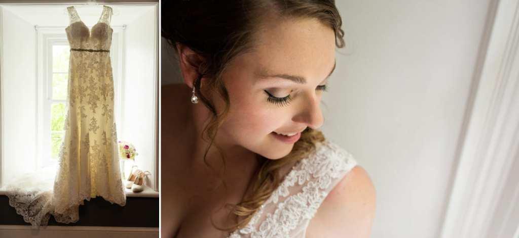 Bride looking down at shoulder and full length shot of wedding dress