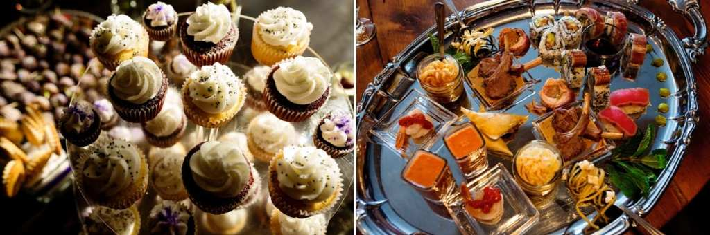 cupcakes, canapes and hors douevres at chic cornwall restaurant wedding