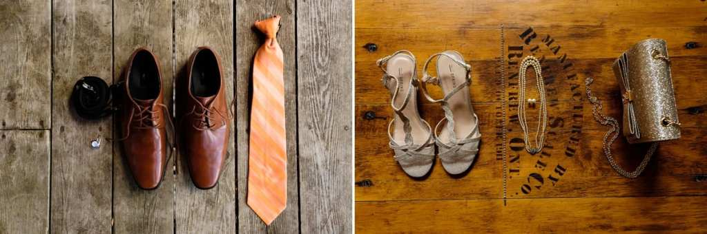 orange bride and groom details with tie, wedding shoes and purse