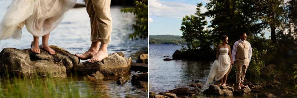 Barefoot bride and groom on rocks in lake at Calabogie wedding