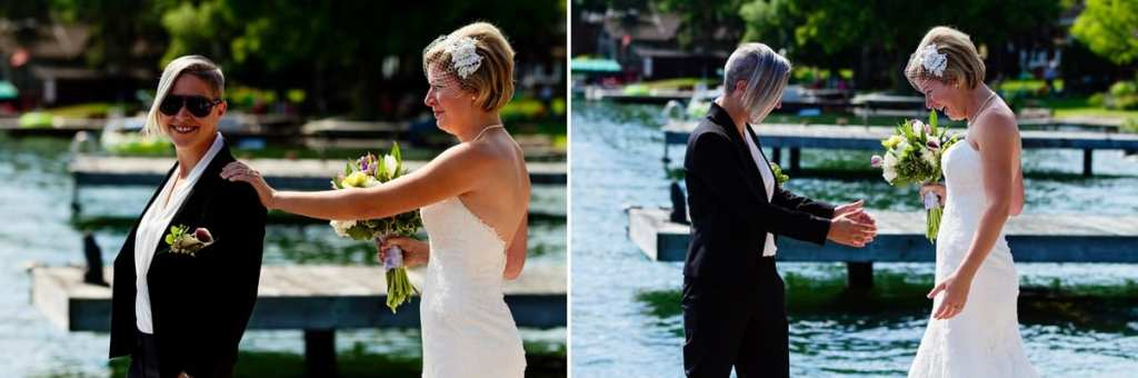 brides' first look on riverfront dock for chic cornwall wedding