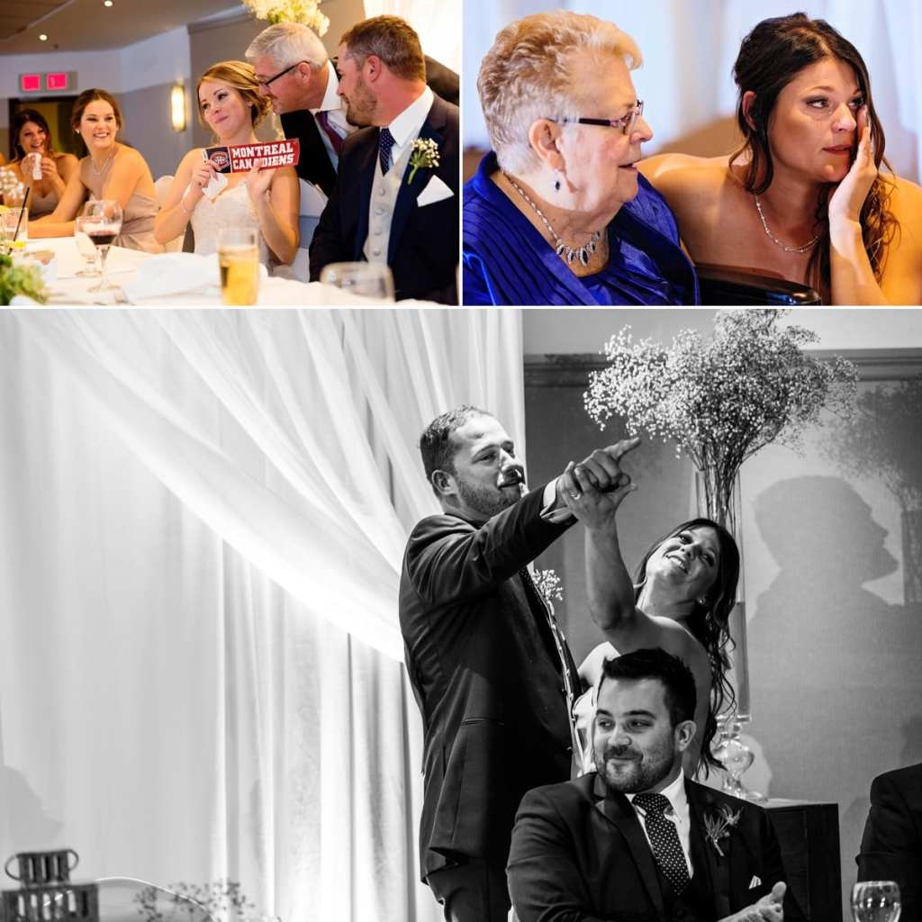 photo collage of bride with Montreal Canadiens sticker, woman with grandmother, groom and sister dancing on stage during Autumnal NAV Centre Cornwall Wedding reception