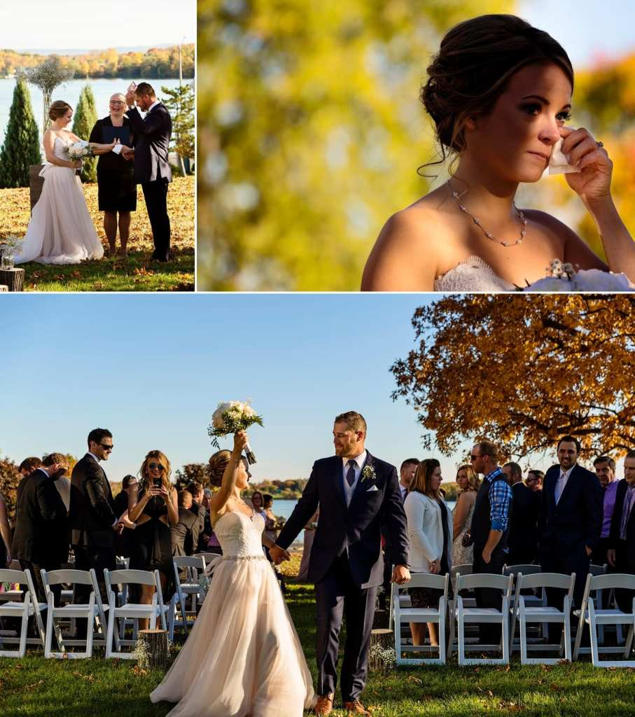 photo collage of groom producing tissues, bride wiping eye and bride celebrating after ceremony during Autumnal NAV Centre Cornwall Wedding