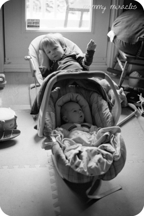 Cameron and Gavin in baby chairs