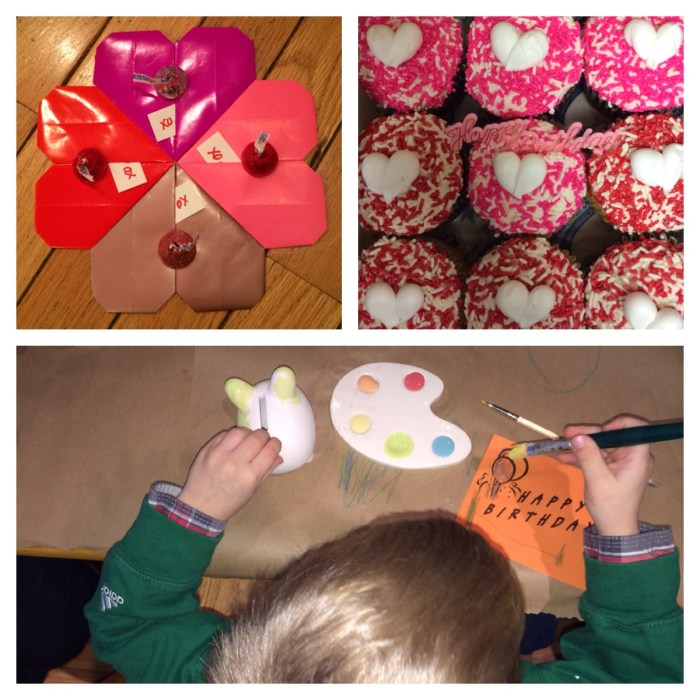 [top left to right: origami heart Valentines from Parents Magazine; Termini Bros. cupcakes; painting at the Expressive Hand]